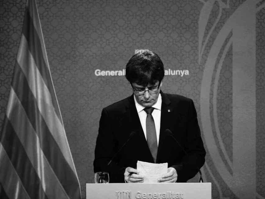 Carles Puigdemont durante la rueda de prensa para explicar los cambios en el 'Govern'.