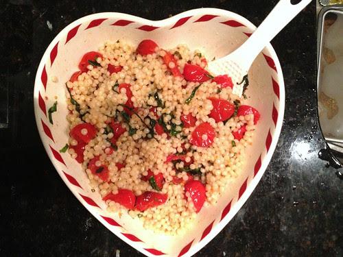 Roasted tomato and basil Israeli couscous