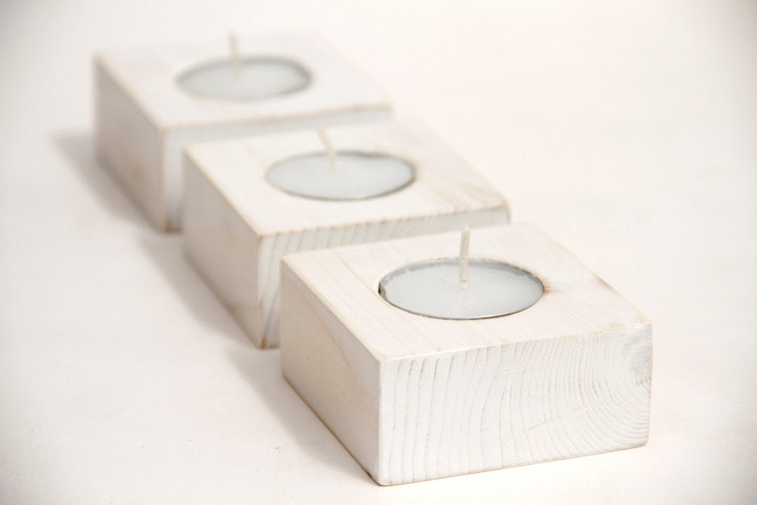Wooden Candle Holders White Wedding Decoration set of 3