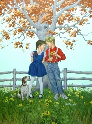 Kids And Dog Under Tree