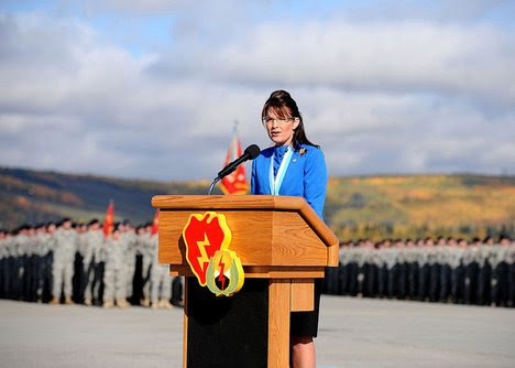 Alaska Gov. Sarah Palin addresses the 1st Stryker Brigade Combat Team, 25th Infantry Division during their deployment ceremony Sept. 11, 2008. Gov. Palins' son is one of the Soldiers deploying.