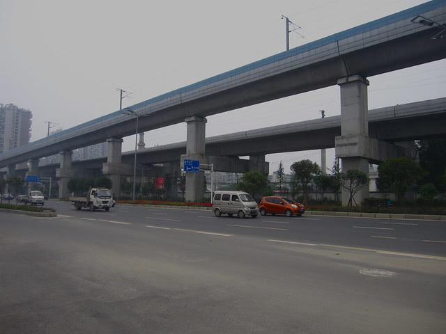 High speed train tracks near Xipu, 2011