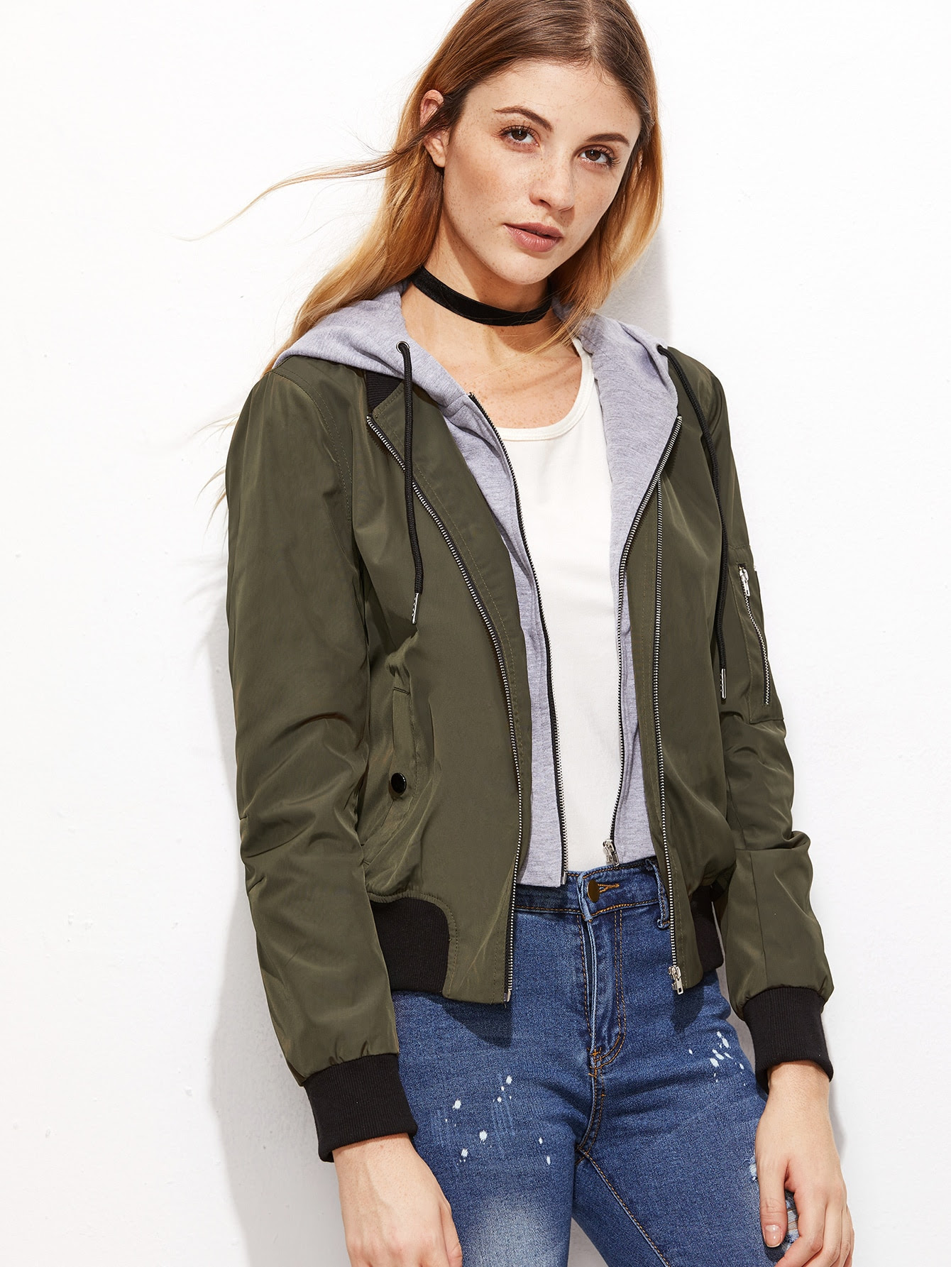olive green contrast hood 2 in 1 bomber jacket shein