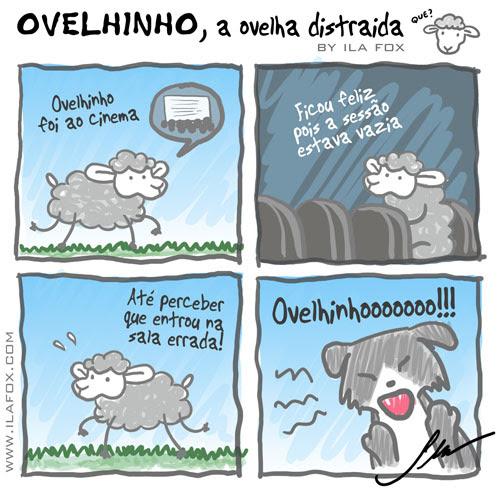 Ovelhinho a ovelha distraída foi ao cinema, quadrinhos by ila fox