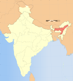 Location of Assam (marked in red) in India
