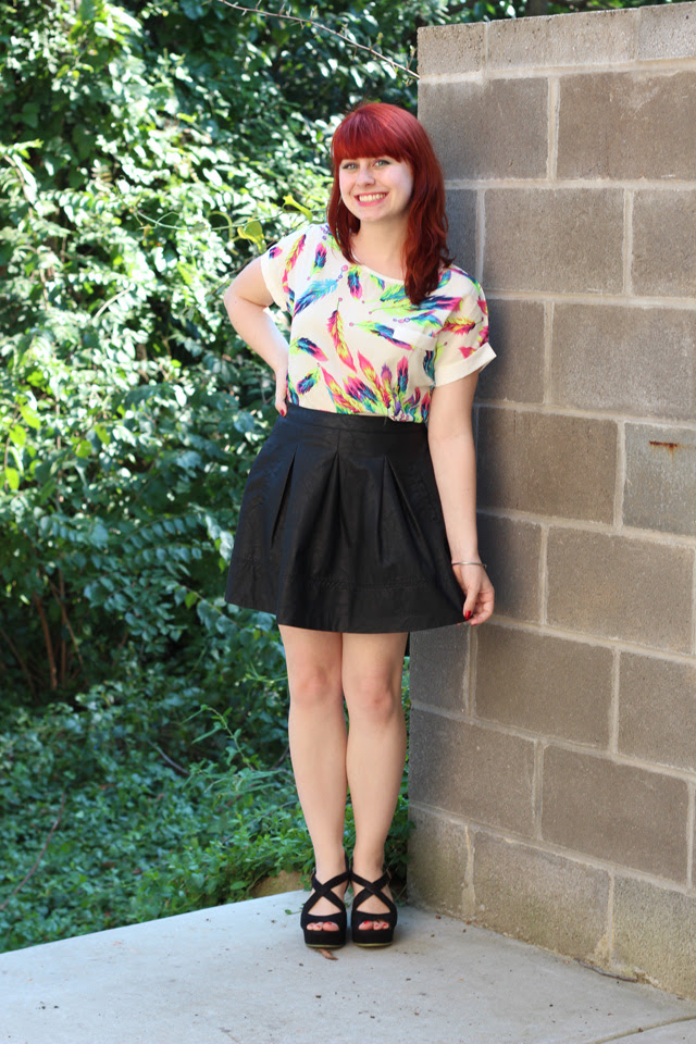 Feather Print Shirt, Leather Skater Skirt