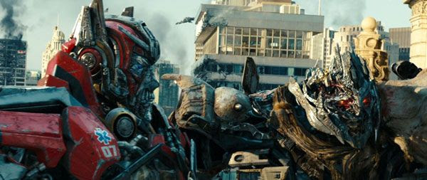 Sentinel Prime and Megatron attempt to bring their home world of Cybertron to Earth after laying siege to Chicago, in TRANSFORMERS: DARK OF THE MOON.