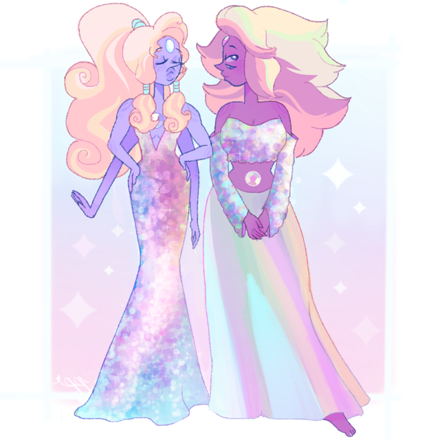 thought these dresses would fit opal and rainbow quartz :>