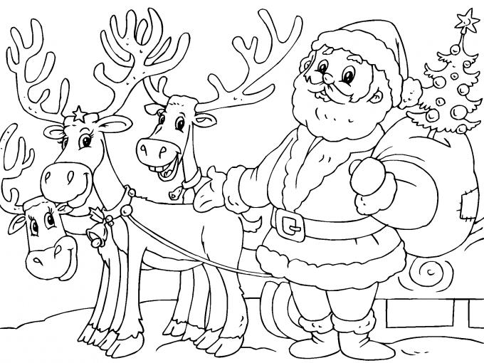 Santa Claus Y Sus Renos Para Imprimir Paracolorearnet