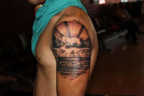 beautifully  ocean sunset tattoos