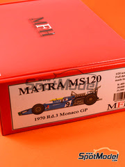 Maqueta de coche 1/20 Model Factory Hiro - Matra MS120 ELF Nº 9, 25 - Henri Pescarolo, Jean Pierre Beltoise - Gran Premio de Monaco 1970 - kit multimedia