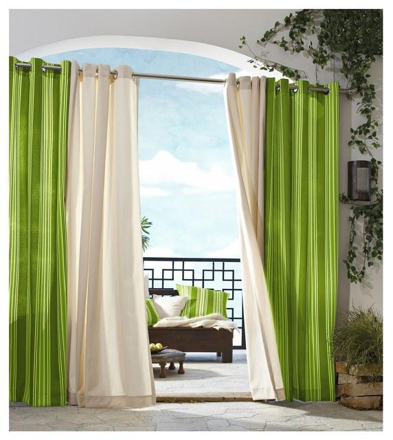 Commonwealth Home Fashions Outdoor Decor Gazebo Stripe Grommet-top