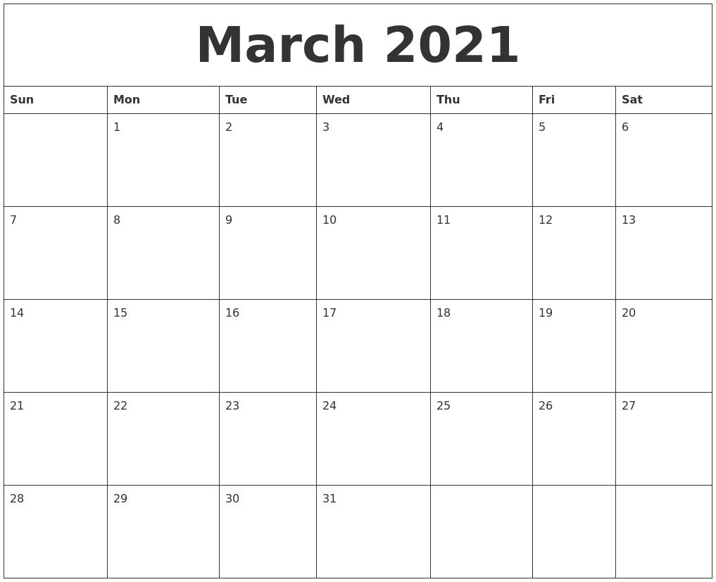 march 2021 free weekly calendar