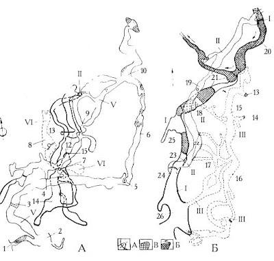 Схематический план верхних (А) и нижних (Б) этажей Красной пещеры