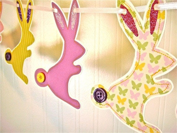 Easter Bunny Garland, Easter Bunny Banner, Easter Decoration, Spring Decoration, Bright Purple Yellow Pink, Easter Photo Prop