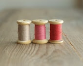 vintage wooden spools / cotton thread rollers / soviet era sewing supplies - reservoires