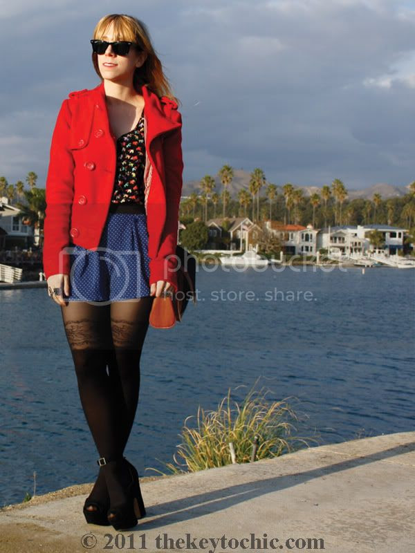 Daily Buzz Style polka dot 9x9, Forever 21 floral garter tights, polka dot shorts, Los Angeles fashion blog