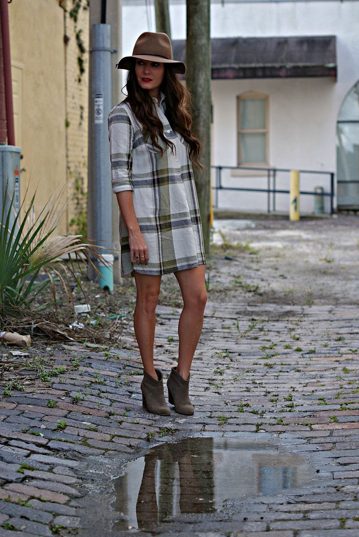 Fall Plaid Shirt Dress