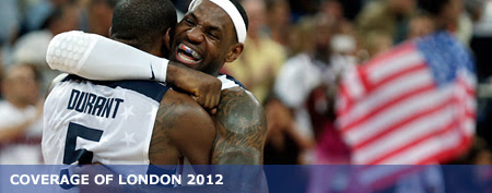 United States' LeBron James and Kevin Durant celebrate gold medal. (AP/Charles Krupa)