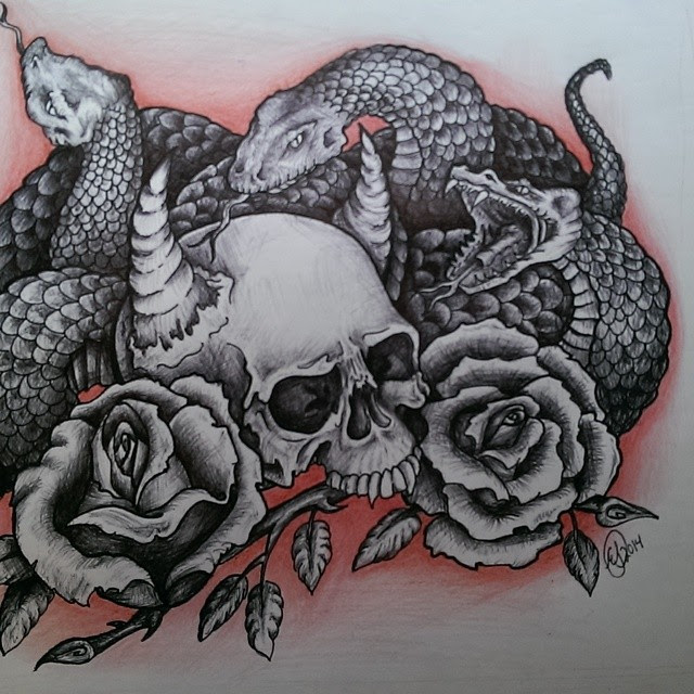 Snake And Skull Drawing At Getdrawingscom Free For Personal Use