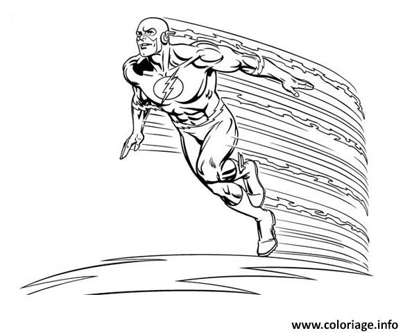 Coloriage Super Heros Flash En Vitesse Jecoloriecom