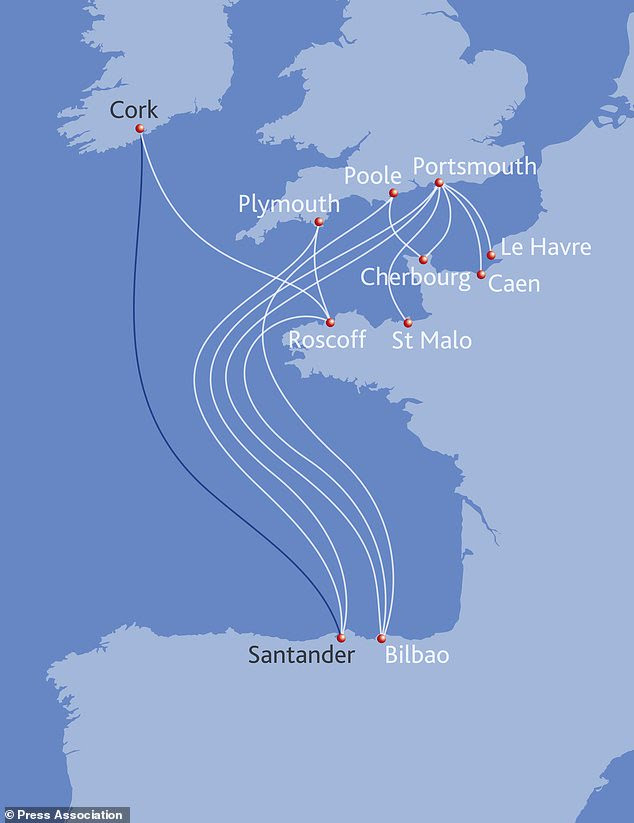 An updated map showing Brittany Ferries´ routes, including Ireland to Spain (Brittany Ferries/PA)