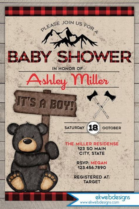 Lumberjack Baby Shower Invitation   It's a boy Baby Shower