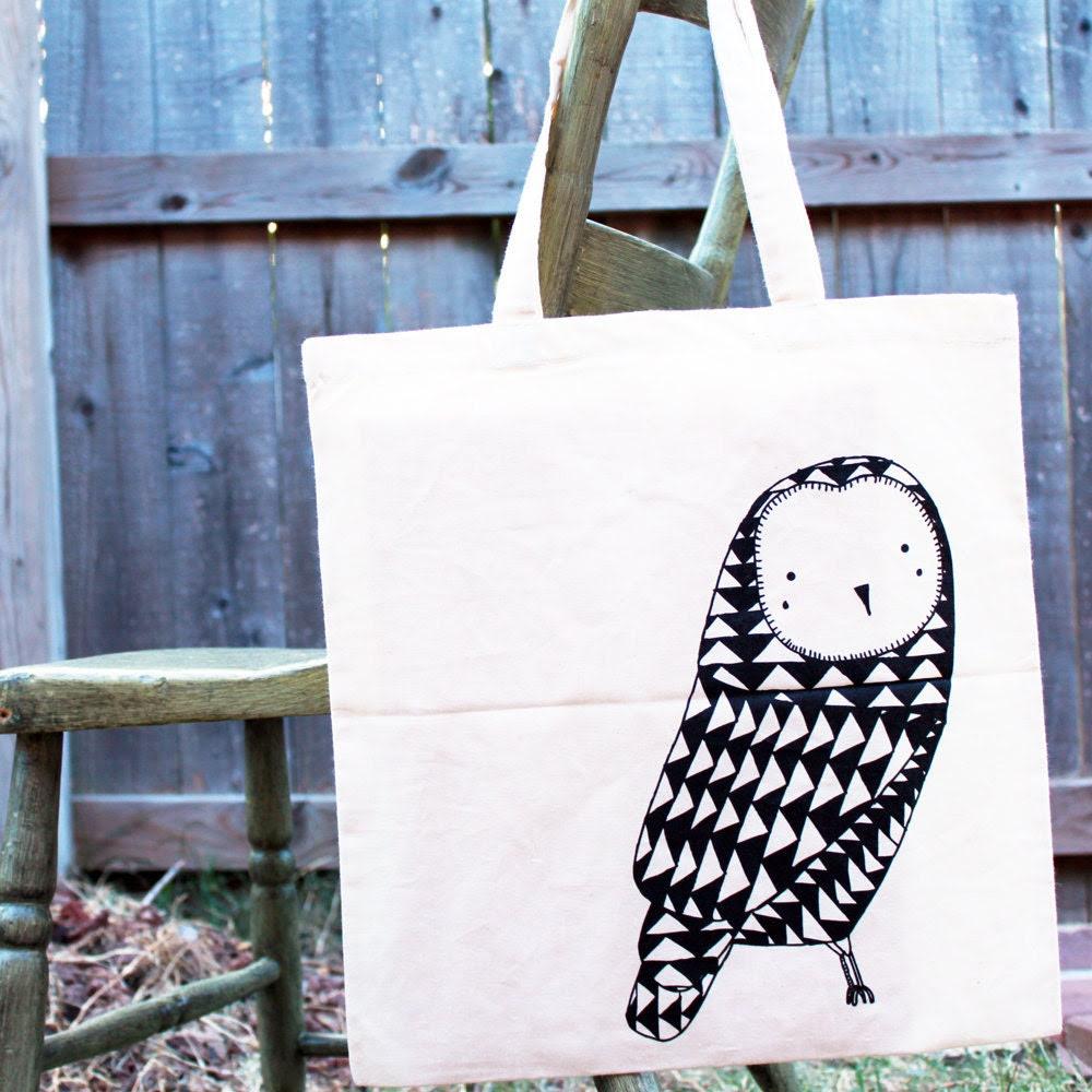 Owl Tote Bag - Black