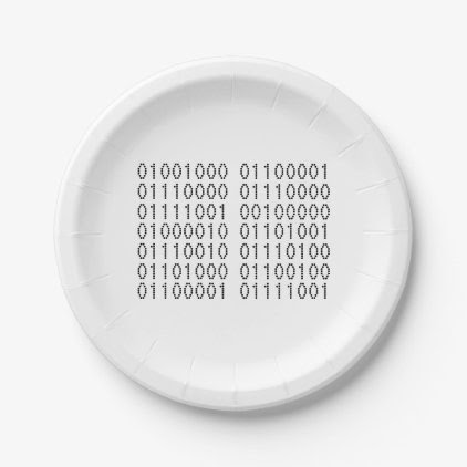 Happy Birthday Computer Binary Code Paper Plate