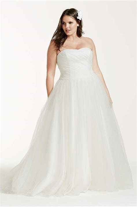 Plus Size Strapless Sweetheart Tulle Wedding Dress