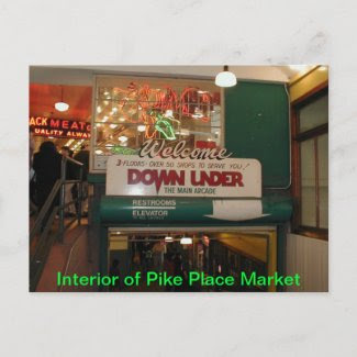 Interior of Pike Place Market Seattle, WA postcard