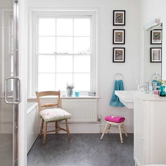 White bathroom with grey vinyl flooring | Decorating ...