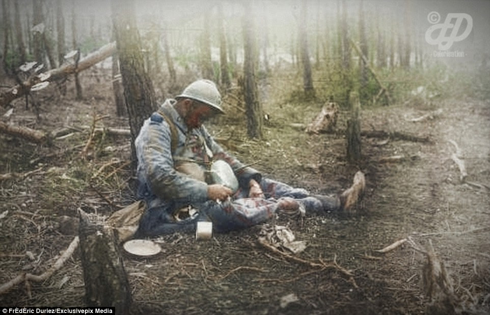 A French soldier lies dead after being killed while he ate at Bois de Spandau in north-east Bois Sabot on October 27, 1915. In the same year between May 9 and June 18, the Artois Offensive cost 300,000 French lives and wounded men