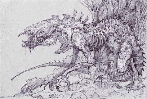 drawn creature creepy pencil   color drawn creature