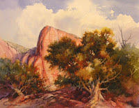 Landscape painting of Kolob canyos in Zion National Park by Roland Lee