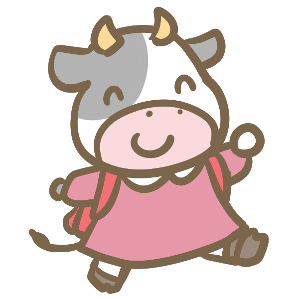 牛の小学生女の子のイラスト かわいいフリー素材が無料のイラスト