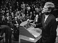 Presidential candidate John F. Kennedy addresses Protestant ministers in Houston, Sept. 1960