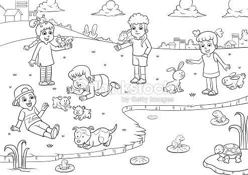 Enfant Dessin Et De Coloriage Pour Les Animaux De Compagnie Clipart