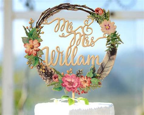 Custom Wedding Cake Topper Printed with Water Color Wreath