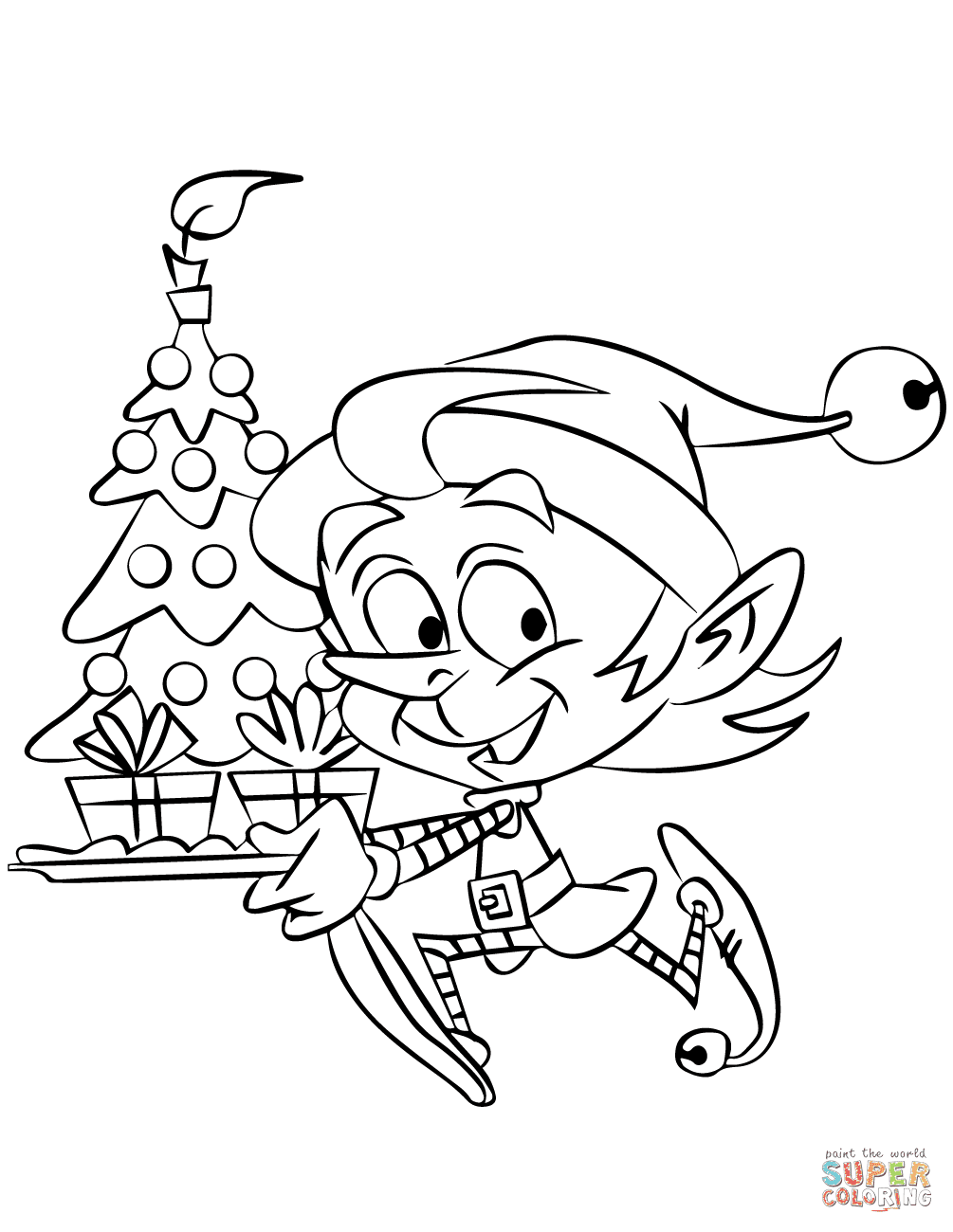 Christmas Elf Running with a Tree coloring page | Free ...