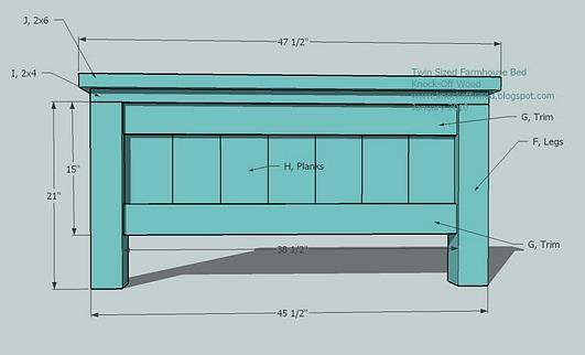 twin farmhouse bed woodworking plans step 02