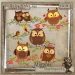 CU Hand Drawn For the love of Owls Clipart 2
