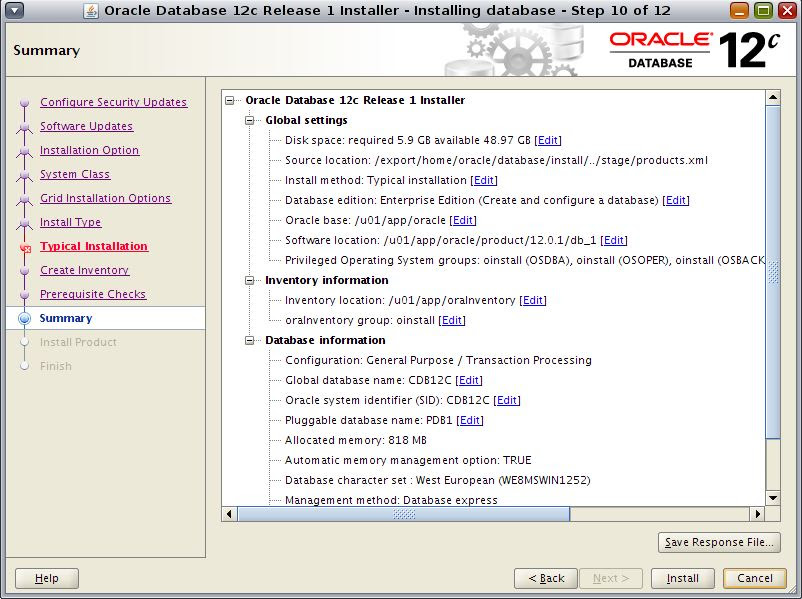 Oracle 12c installation on linux