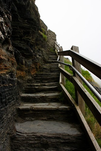 Stone steps to the Island Ruins at Tintagel