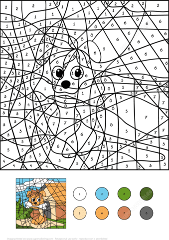 dog colornumber  free printable coloring pages