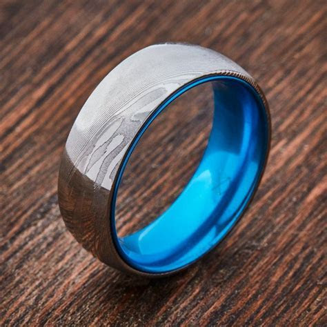 Wood Grain Damascus Steel Ring   Resilient Blue   Outfits
