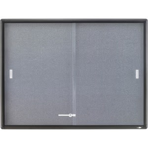 Quartet Enclosed Fabric Bulletin Board 4 X 3 Sliding Door