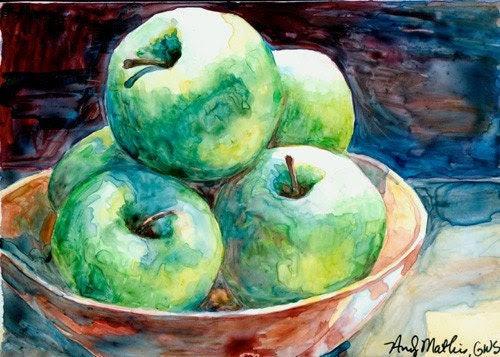 Yupo Watercolor Reproduction Print Green Apples Fruit Floral Still Life Wall Decor Housewarming Hostess Gift by Andy Mathis GWS