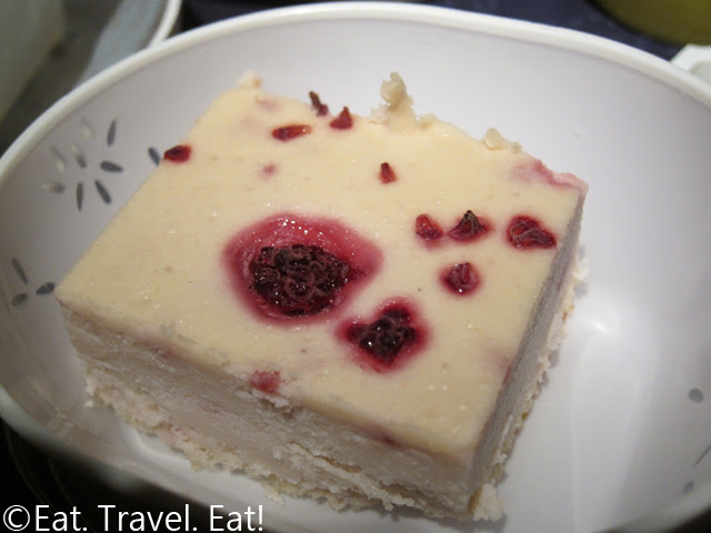 Cathay Pacific Dinner- Raspberry Cheesecake