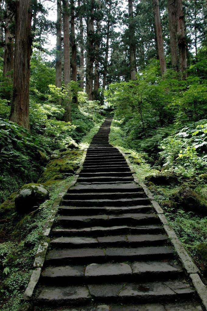 Holy stairway, Mount Haguro, Yamagata, Japan